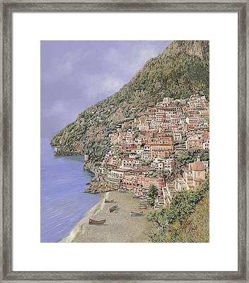 la spiaggia di Positano Framed Print by Guido Borelli