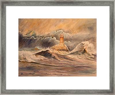 La Vieille Lighthouse Framed Print by Juan  Bosco