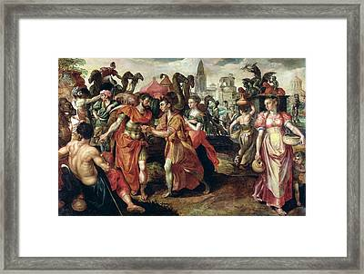 Laban Searching For Eliezer At The Well Oil On Panel Framed Print by Maarten de Vos