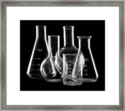 Laboratory Glassware Framed Print by Jim Hughes