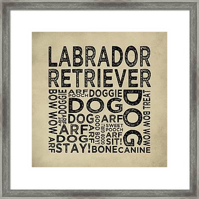 Labrador Retriever Typography Framed Print by Flo Karp