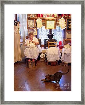 Lace Lady Of Burano Framed Print by Jennie Breeze