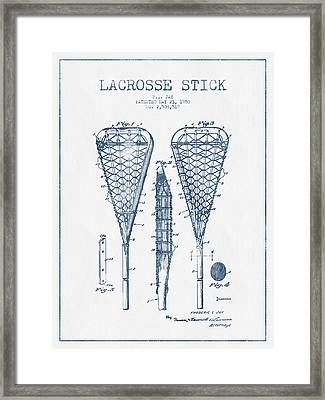 Lacrosse Stick Patent From 1950  -  Blue Ink Framed Print by Aged Pixel