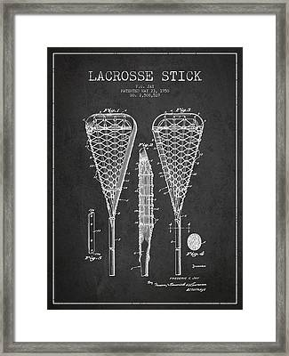 Lacrosse Stick Patent From 1950- Dark Framed Print by Aged Pixel