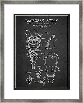 Lacrosse Stick Patent From 1977 -  Charcoal Framed Print by Aged Pixel