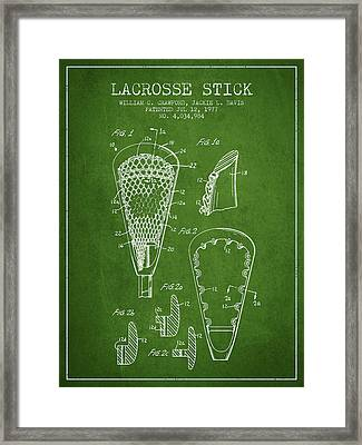 Lacrosse Stick Patent From 1977 -  Green Framed Print by Aged Pixel
