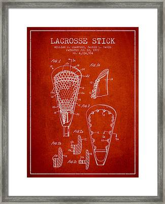 Lacrosse Stick Patent From 1977 -  Red Framed Print by Aged Pixel
