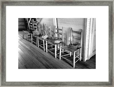 Ladder Back Chairs And Baskets Framed Print by Lynn Palmer