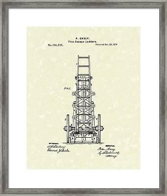 Ladders 1874 Patent Art Framed Print by Prior Art Design
