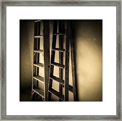 Ladders Framed Print by Les Cunliffe