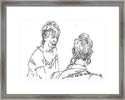 Ladies Chatting Framed Print by Ylli Haruni