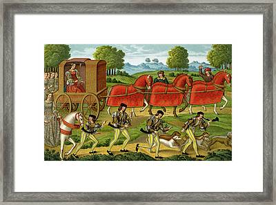 Ladies Hunting, From A Miniature Framed Print by French School