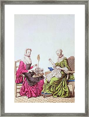 Ladies Spinning And Sewing, C.1765 Colour Engraving Framed Print by .