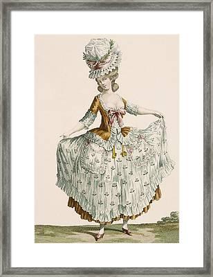Ladies Style Evening Dress, Engraved Framed Print by Claude Louis Desrais