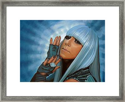 Lady Gaga Painting Framed Print by Paul Meijering