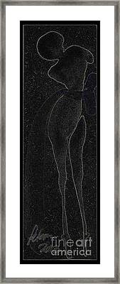 Lady In A Charcoal Bow Entwined Figures Series Framed Print by Cathy Peterson