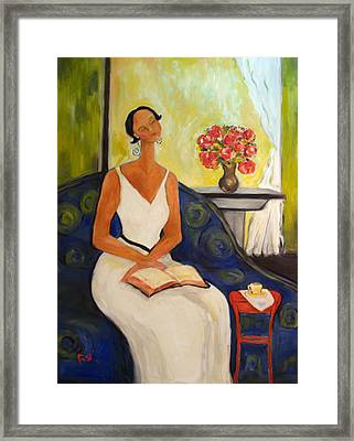 Lady In Blue Chair Framed Print by Becky Kim