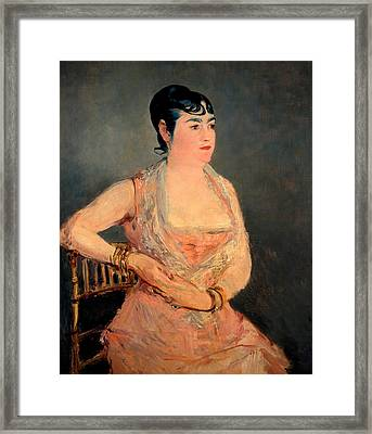 Lady In Pink Framed Print by Edouard Manet