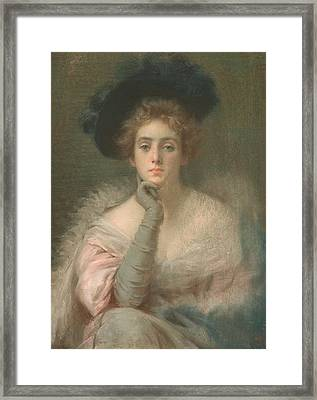Lady In Pink Framed Print by Joseph W Gies