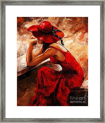 Lady In Red 21 Framed Print by Emerico Imre Toth