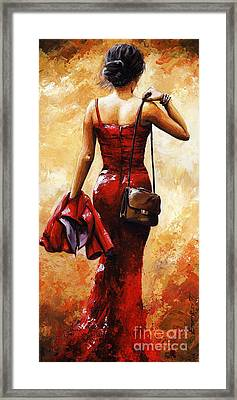 Lady In Red #25 Framed Print by Emerico Imre Toth