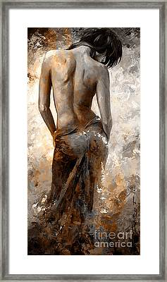 Lady In Red #27 Digital Colored Rust Framed Print by Emerico Imre Toth