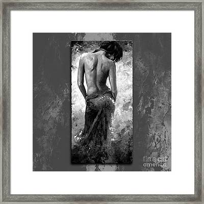 Lady In Red 27 Style Black And White Framed Print by Emerico Imre Toth