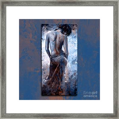 Lady In Red 27 Style Version Magic Blue  Framed Print by Emerico Imre Toth