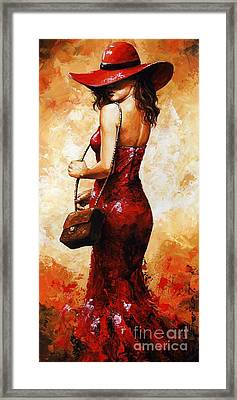 Lady In Red  30 Framed Print by Emerico Imre Toth