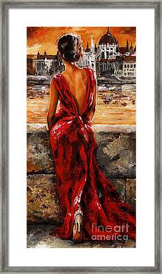 Lady In Red  34 -  I Love Budapest Framed Print by Emerico Imre Toth
