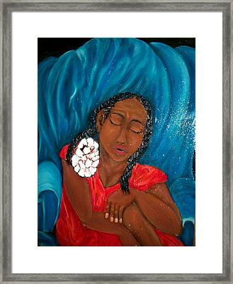 Lady In Red Dress Framed Print by Mildred Chatman