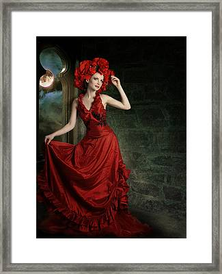 Lady In Red Framed Print by Ester  Rogers