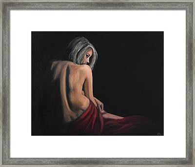 Lady In Red Framed Print by James Kruse