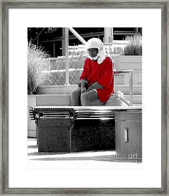 Lady In Red Framed Print by Lilliana Mendez
