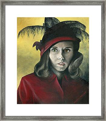 Lady In Red Framed Print by Mary Ellen Anderson