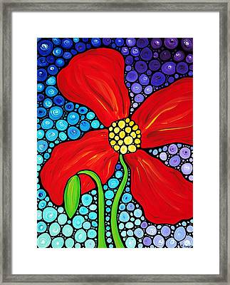 Lady In Red - Poppy Flower Art By Sharon Cummings Framed Print by Sharon Cummings