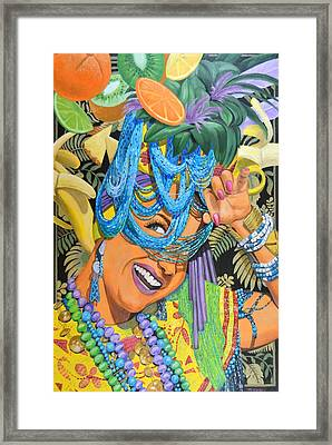 Lady In The Tutti Fruity Hat Framed Print by Tim Treadwell