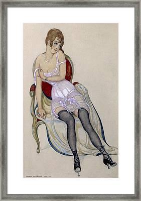 Lady In Underwear, 1917 Framed Print by Gerda Marie Frederike Wegener