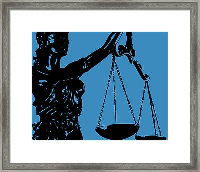 Lady Justice Blue Framed Print by Flo Karp