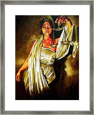 Lady Justice Sepia Framed Print by Laura Pierre-Louis