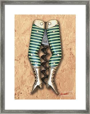Lady Legs Corkscrew Painting Framed Print by Jon Neidert