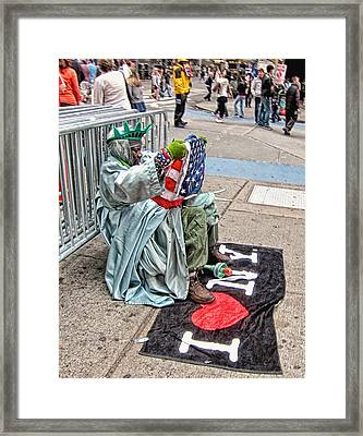 Lady Liberty Calls It A Day Framed Print by Rory Brennan