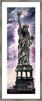 Lady Liberty Charcoal And Oil Framed Print by Ginette Callaway