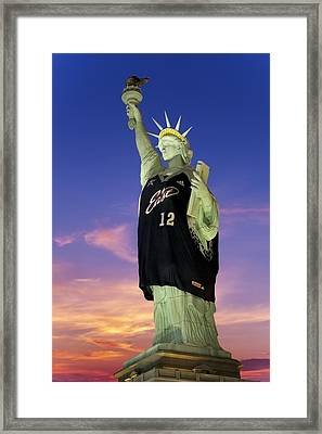 Lady Liberty Dressed Up For The Nba All Star Game Framed Print by Susan Candelario