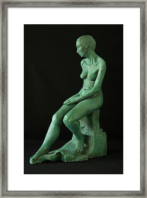 Lady On The Rock Framed Print by Flow Fitzgerald