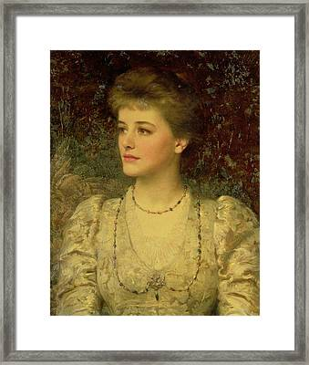 Lady Palmer Oil On Canvas Framed Print by Sir Frank Dicksee