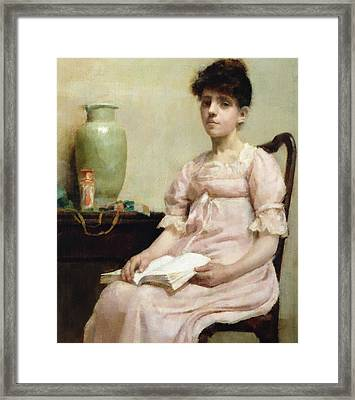Lady Reading Framed Print by Fanny Caille