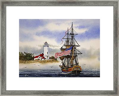 Lady Washington At Point Wilson Lighthouse Framed Print by James Williamson