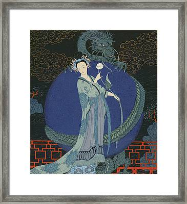 Lady With A Dragon Framed Print by Georges Barbier