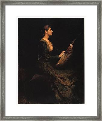 Lady With A Lute Framed Print by Thomas Wilmer Dewing